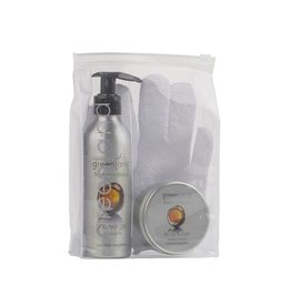 Fruit Emotions, giftset: scrub handschoen, douchegel, body butter, kokos-mandarijn