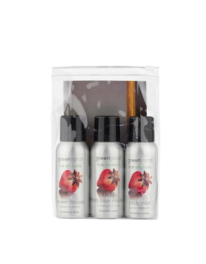 Fruit Emotions, travel set: shower mousse, body lotion mousse, body mist,  strawberry-anise