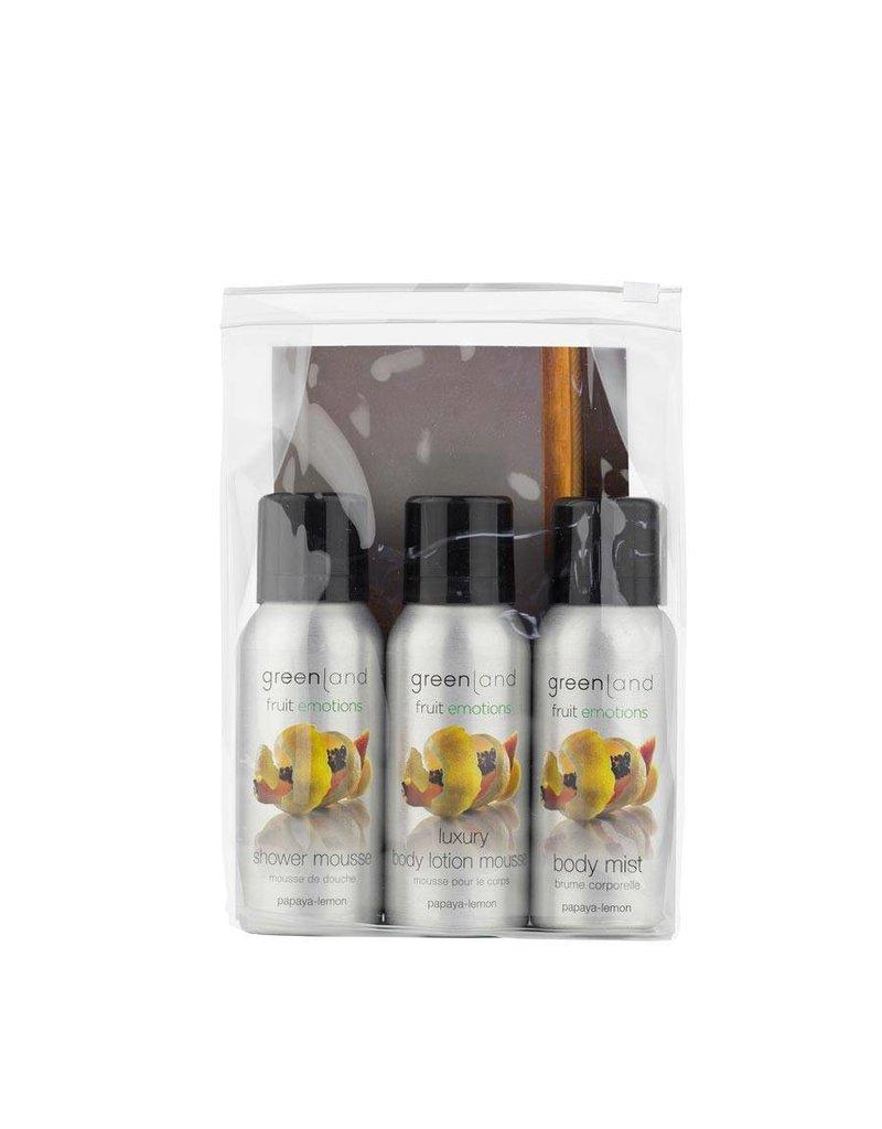 Fruit Emotions, travel set: shower mousse, body lotion mousse, body mist,  papaya-lemon