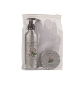Fruit Emotions giftset: scrub handschoen, douchegel, body butter, drakenvrucht-witte thee