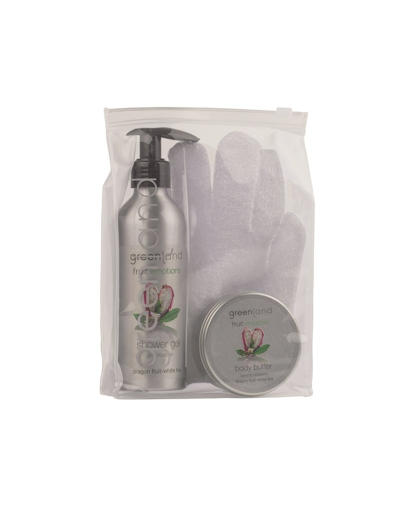Fruit Emotions giftset: scrub glove, shower gel, body butter, dragon fruit-white tea