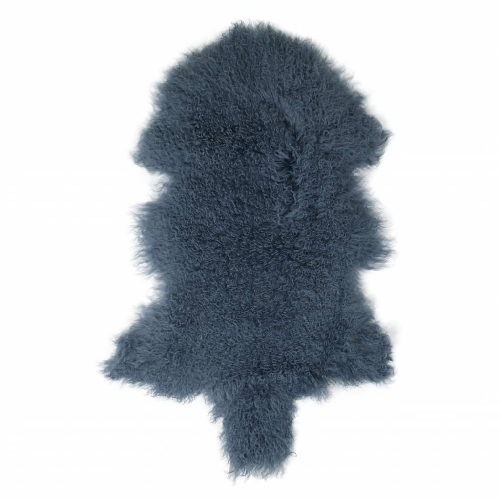 testVan Buren Schapenvacht vintage blauw Tibetaans met gekrulde lange haren