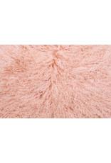 Van Buren Schapenvacht zalm roze Tibetaans met gekrulde lange haren