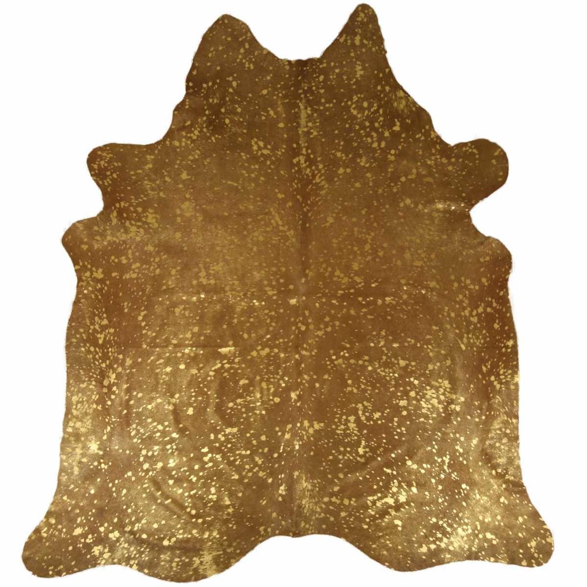 testVan Buren Metallic gouden koeienhuid vloerkleed metallic