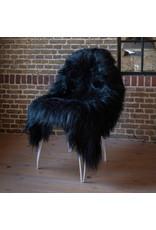 Van Buren Schapenvacht zwart IJslands met extra lange haren