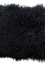 Van Buren Zacht zwart kussen van Tibet lamsvacht