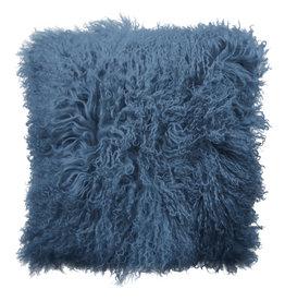Van Buren Tibet Schapenvacht Kussen - Vintage Blue - 45x45cm - Van Buren