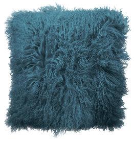 Van Buren Tibet Schapenvacht Kussen - Turquoise - 45x45cm - Van Buren