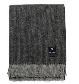 Van Buren Alpaca Wollen Plaid | Visgraat grijs | 180x130cm