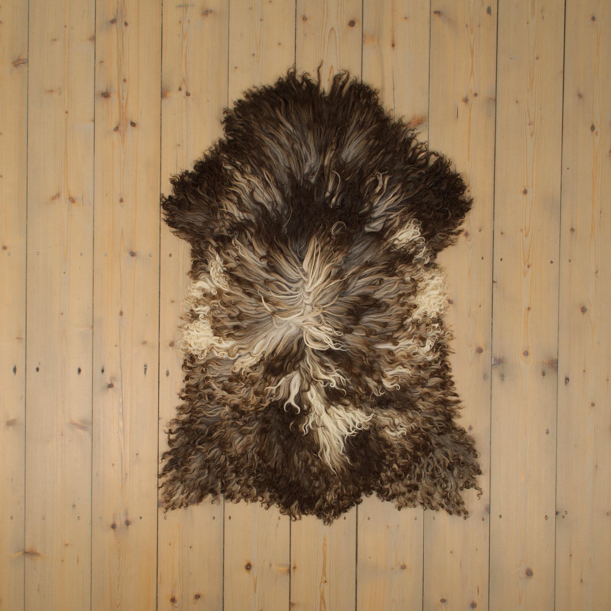 Van Buren Krul Schapenvacht - Donker - Uniek Gefotografeerd - ca. 100x60cm - US037
