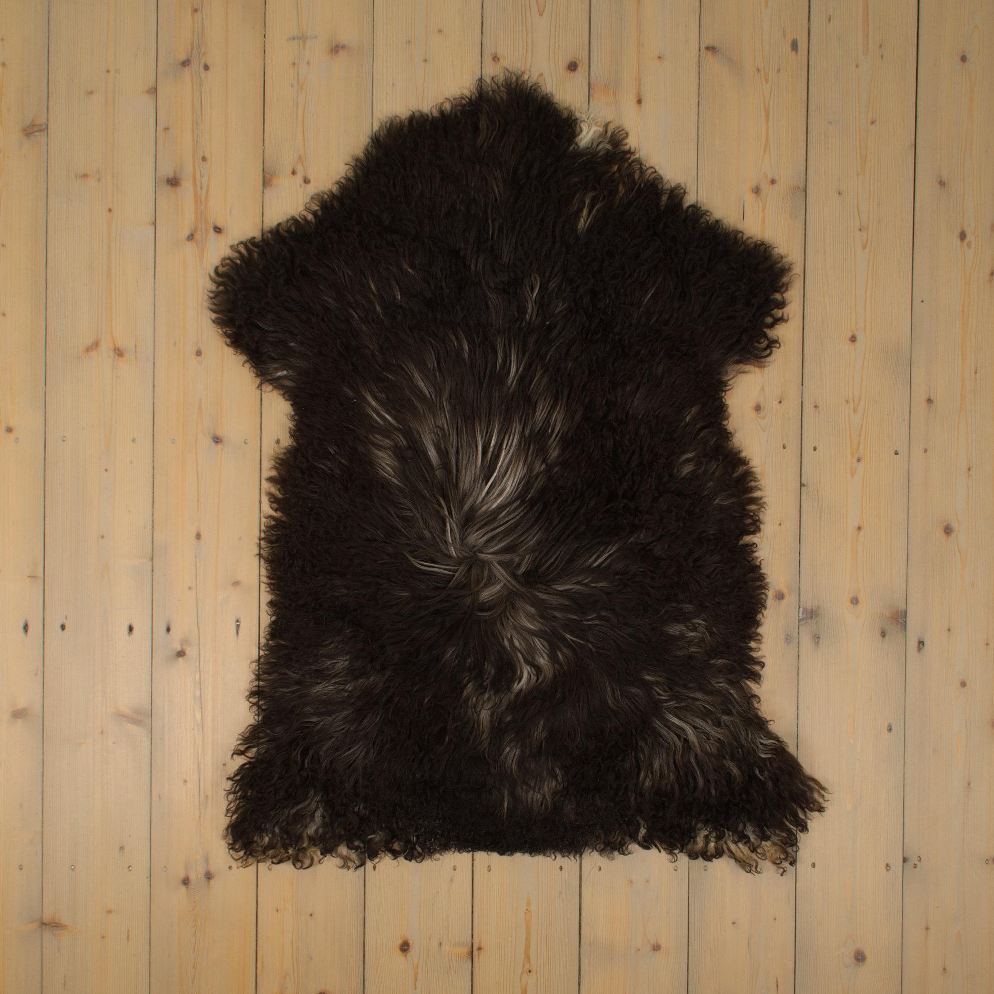 Van Buren Krul Schapenvacht - Donker - Uniek Gefotografeerd - ca. 110x70cm - US036
