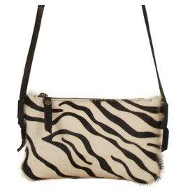 Van Buren Koeienhuid schoudertasje - Zebraprint | Lederen crossbody