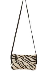 Van Buren Koeienhuid crossbody tasje - Zebraprint | Lederen avondtasje