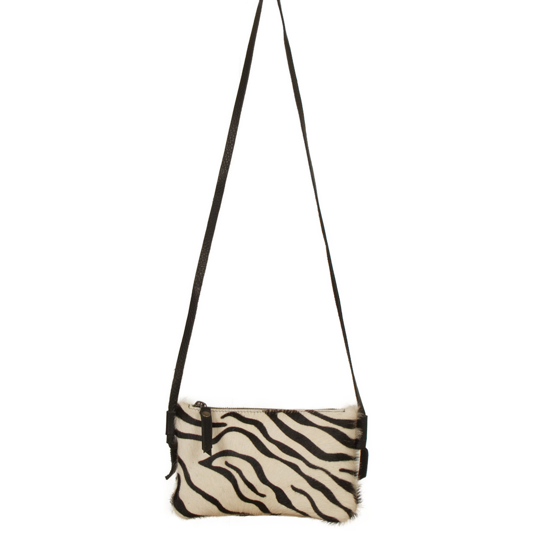 testVan Buren Koeienhuid schoudertasje - Zebraprint | Lederen crossbody