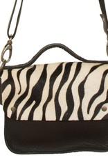 Van Buren Tas Maren - Zwart/zebra print   Lederen crossbody tas