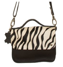 Van Buren Tas Maren - Zwart/zebra print | Lederen crossbody tas