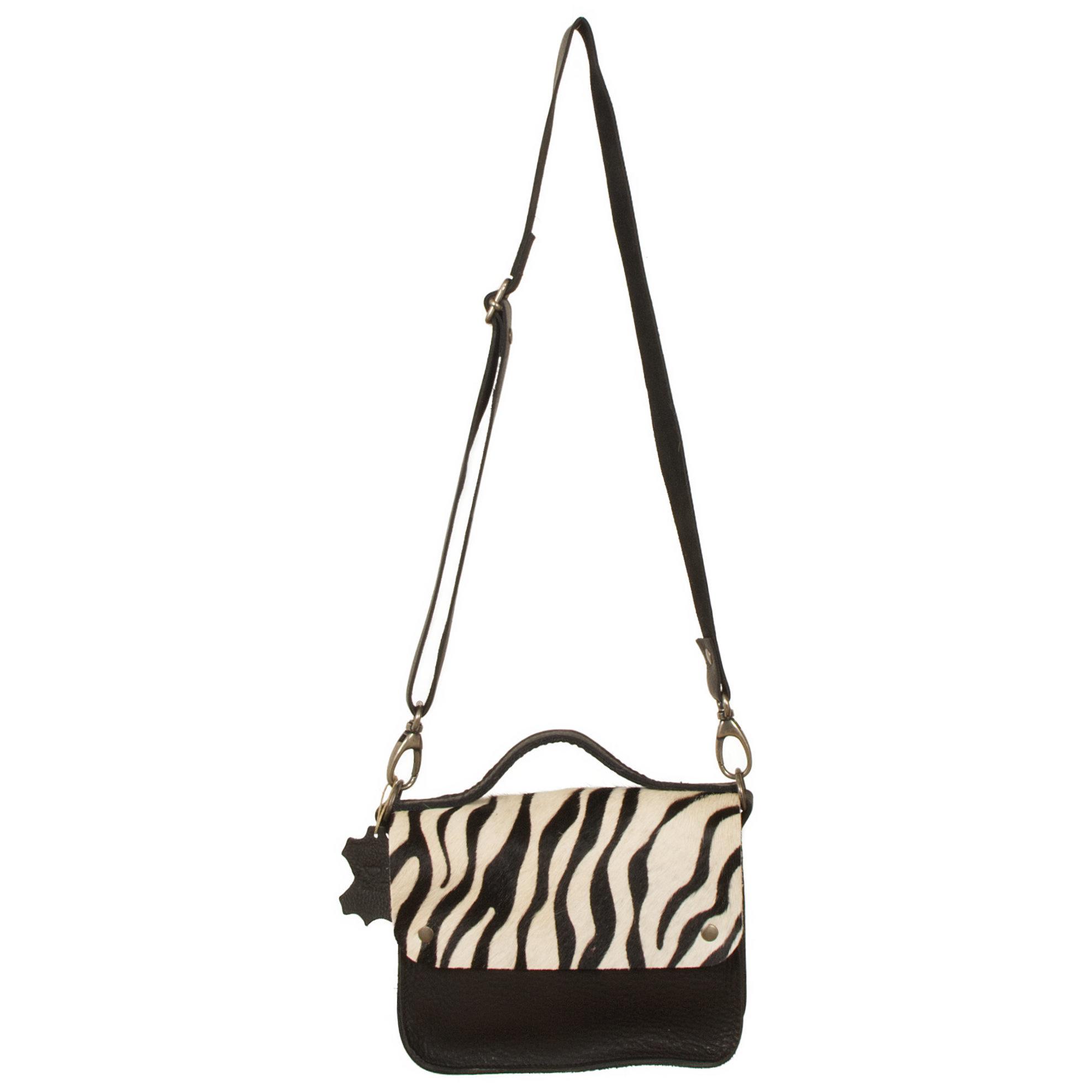 testVan Buren Tas Maren - Zwart/zebra print | Lederen crossbody tas