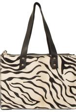 Van Buren Koeienhuid handtas - Zwart/zebra print   Lederen handtas