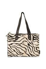 Van Buren Koeienhuid handtas - Zwart/zebra print | Lederen handtas