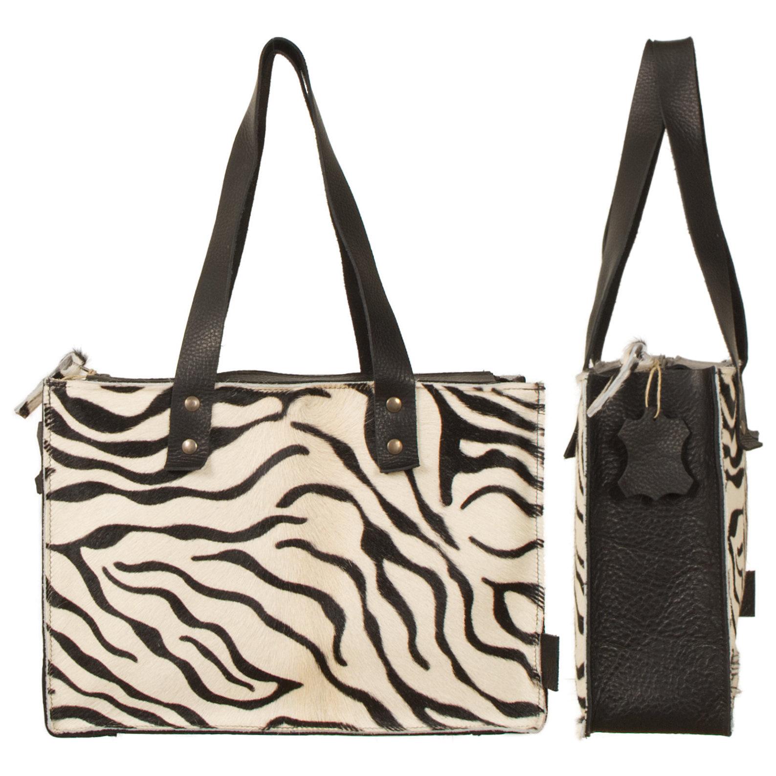 testVan Buren Koeienhuid handtas - Zwart/zebra print | Lederen handtas