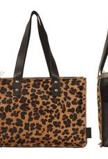 Van Buren Koeienhuid handtas - Zwart/panter print | Lederen handtas