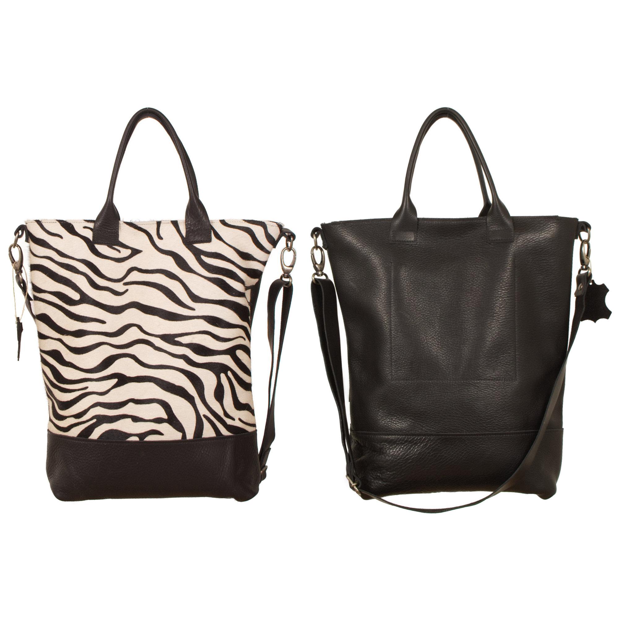 testVan Buren Tas Jolie - Zwart/zebra print | Leren koeienhuid schoudertas