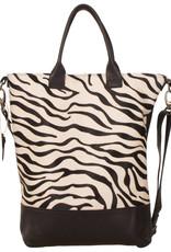 Van Buren Tas Jolie - Zwart/zebra print   Leren koeienhuid schoudertas