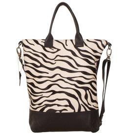 Van Buren Tas Jolie - Zwart/zebra print | Leren koeienhuid schoudertas