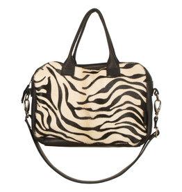 Van Buren Tas Milou - Zwart/zebra print | Leren koeienhuid schoudertas