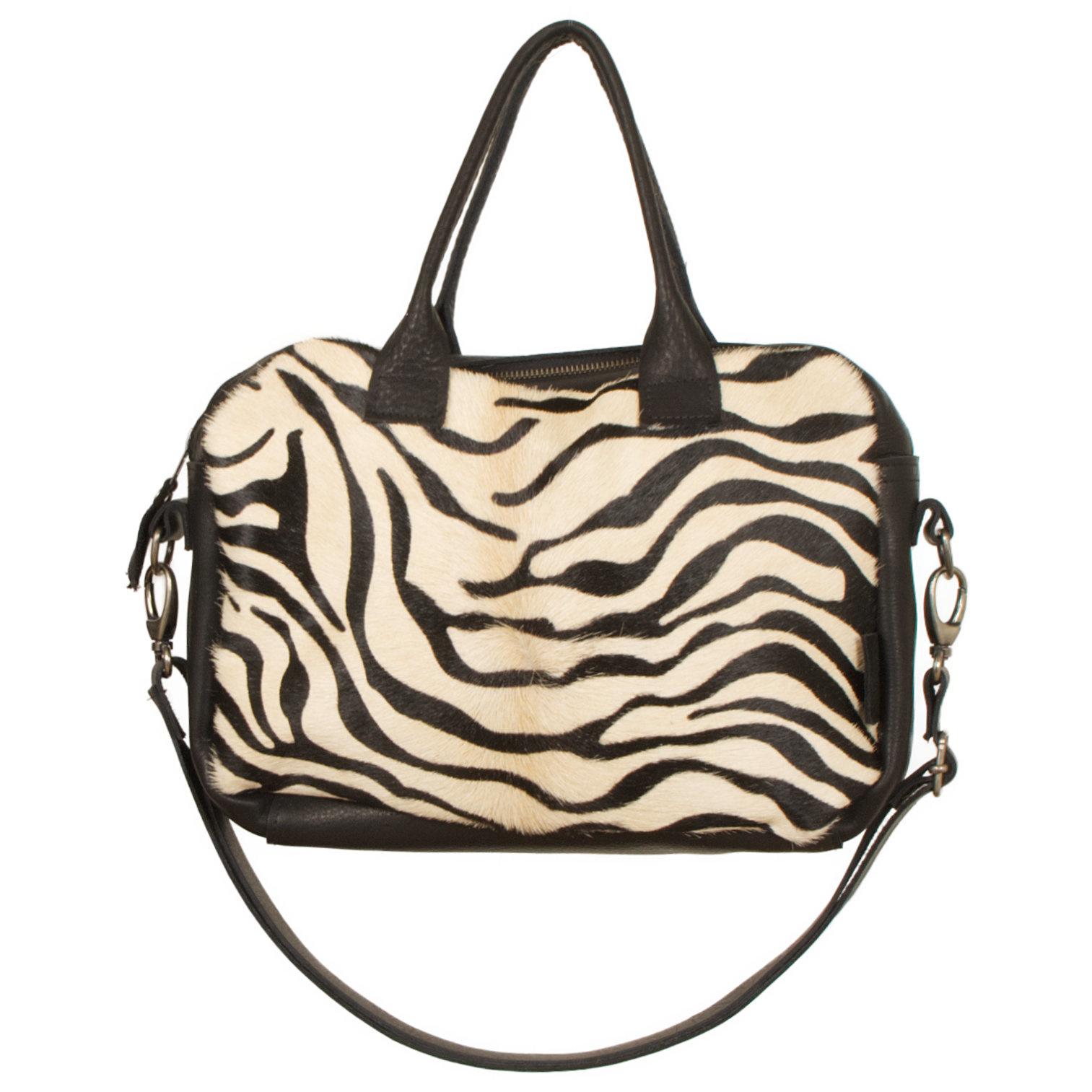 testVan Buren Tas Milou - Zwart/zebra print | Leren koeienhuid schoudertas