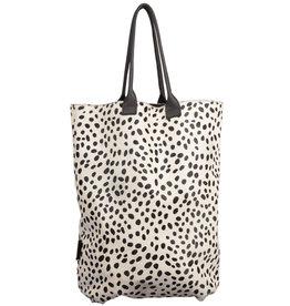 Van Buren Tas Claudia - Zwart/dalmatiër print | Leren / koeienhuid shopper