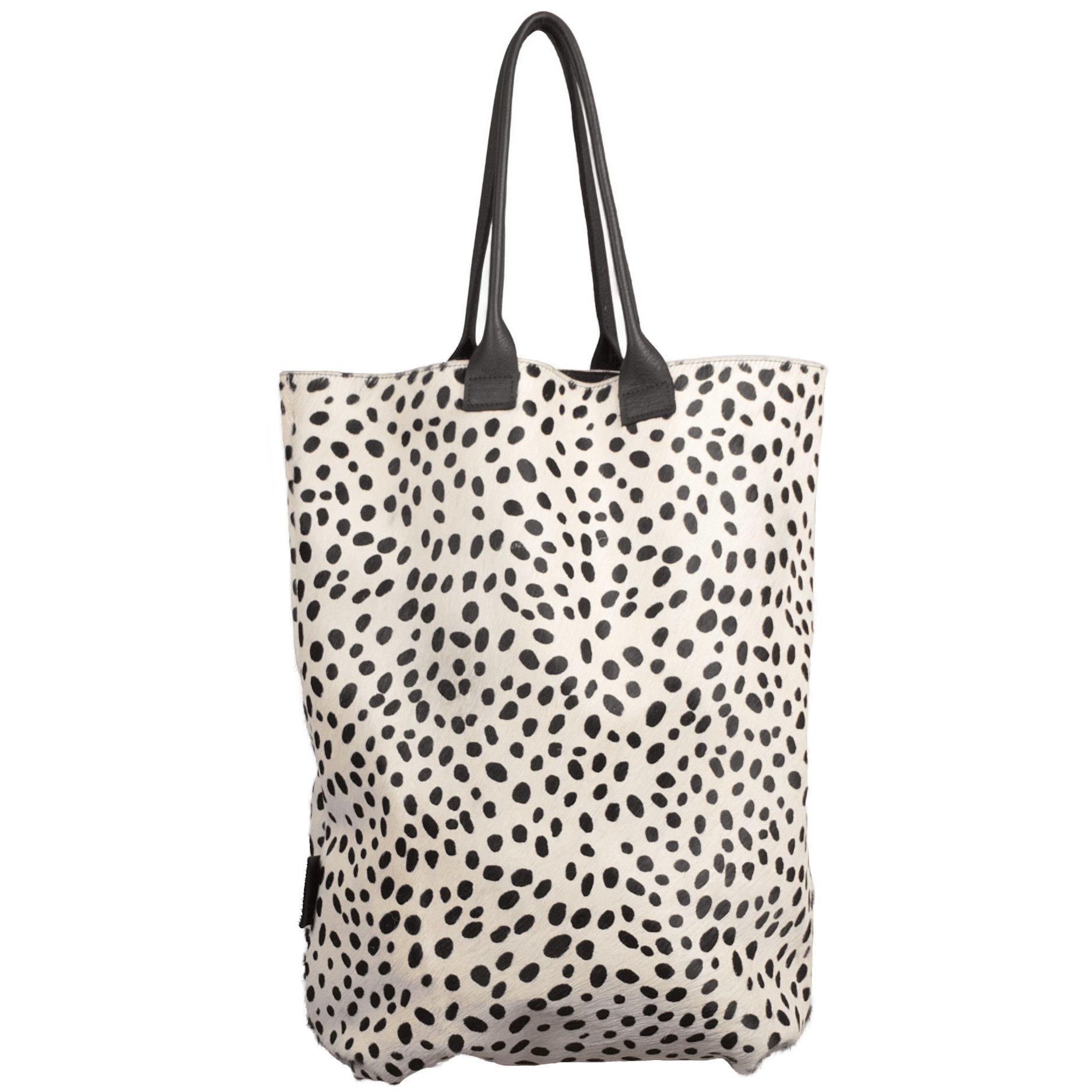 testVan Buren Tas Claudia - Zwart/dalmatiër print | Leren / koeienhuid shopper