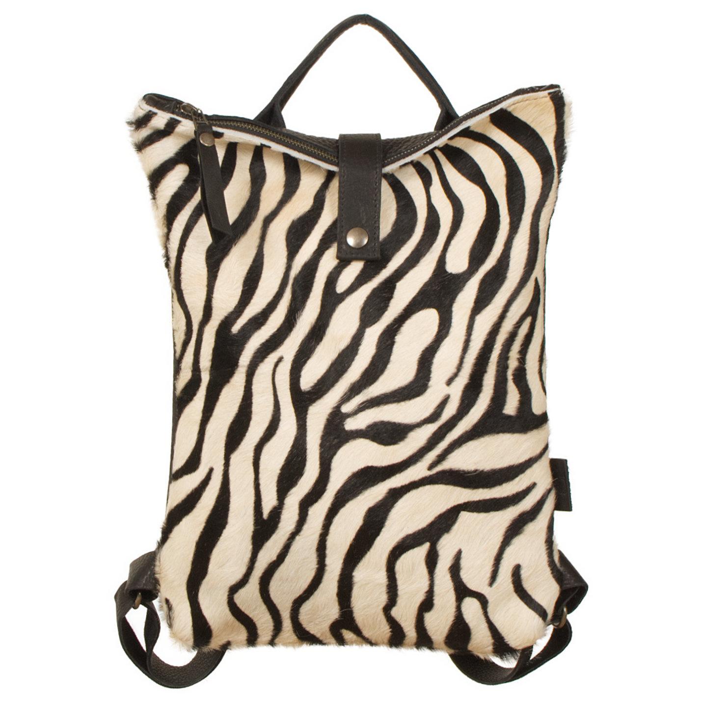 testVan Buren Rugtas Sandra - Zwart/zebra print | Leren koeienhuid rugzak