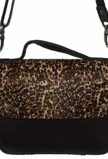 Van Buren Tas Maren - Zwart/panter print | Lederen crossbody tas