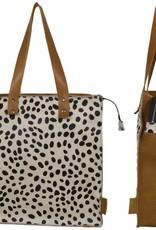 Van Buren Koeienhuid shopper - Cognac/dalmatiër print | Lederen shopper