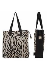 Van Buren Koeienhuid shopper - Zwart/zebra print | Lederen shopper