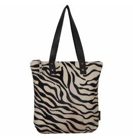 Van Buren Tas Karlijn - Zwart/zebra print | Lederen koeienhuid handtas