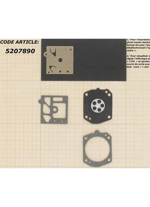 Membraanset voor Walbro carburateur - vervangnummer D10-HD - past op Husqvarna 371, 133 en Stihl MS270, FS360, FS500, FS550, BR320, BR400, BR420, 029, 039, 044 en 046