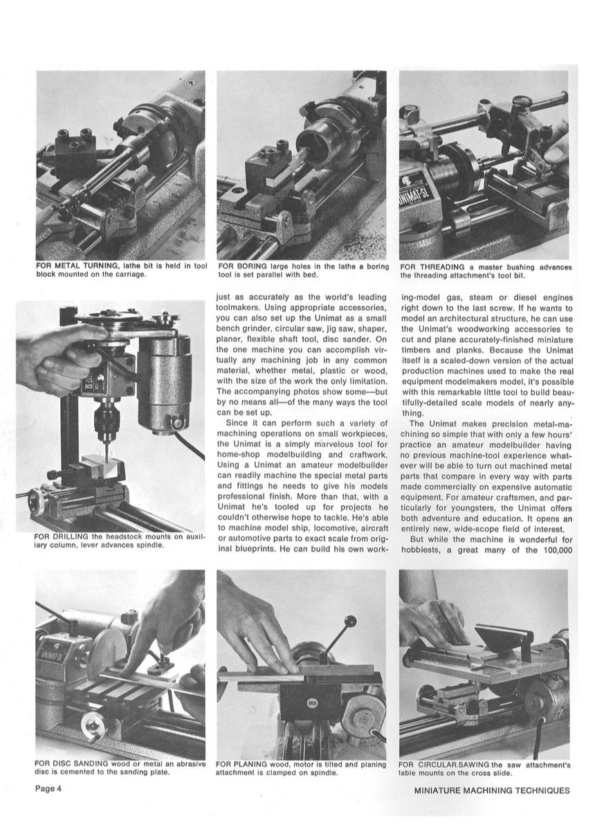 UNIMAT MINIATURE MACHINING TECHNIQUES