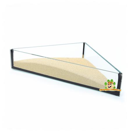 DRD Knaagdierwinkel® Glazen Zandschaal Driehoek 20 cm
