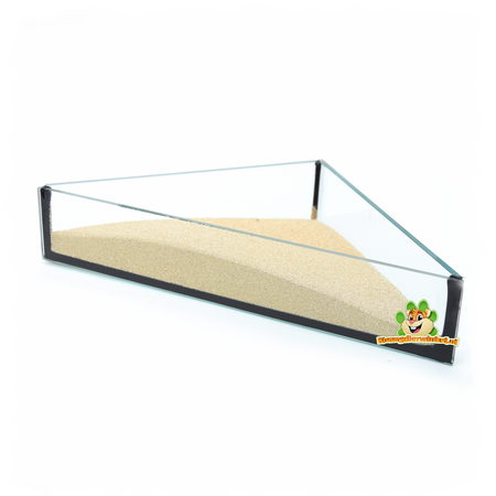 Knaagdierwinkel® Glass Sand Bowl Triangle 20 cm