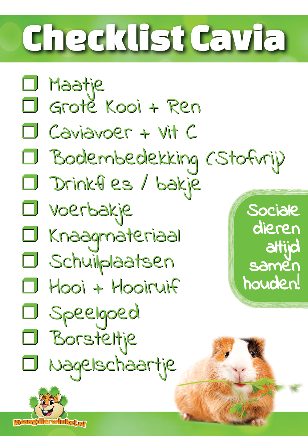checklist cavia