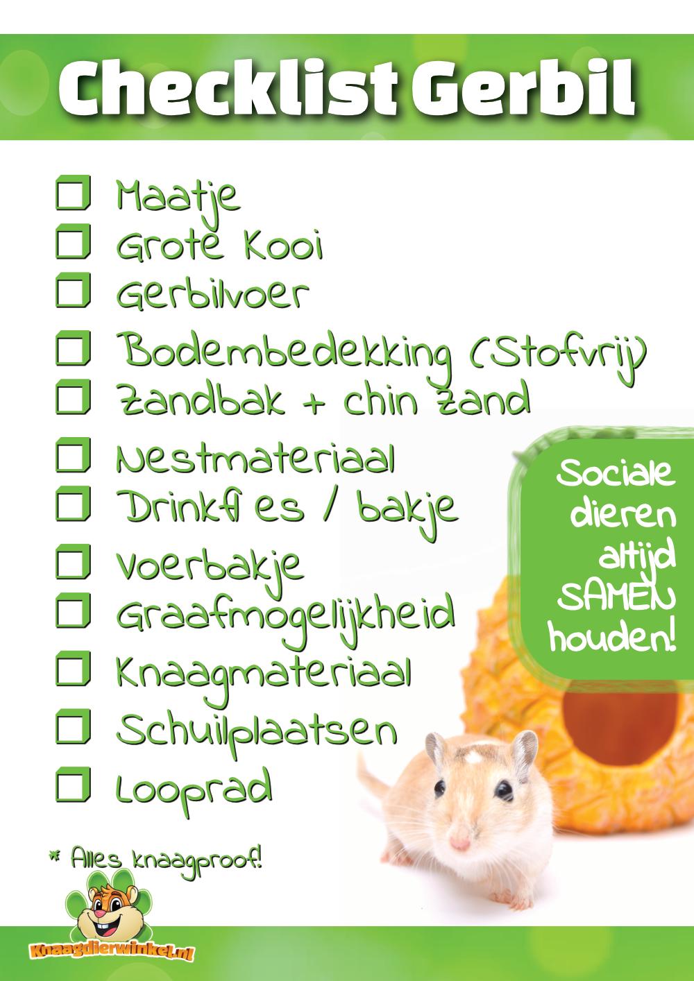 gerbil checklist
