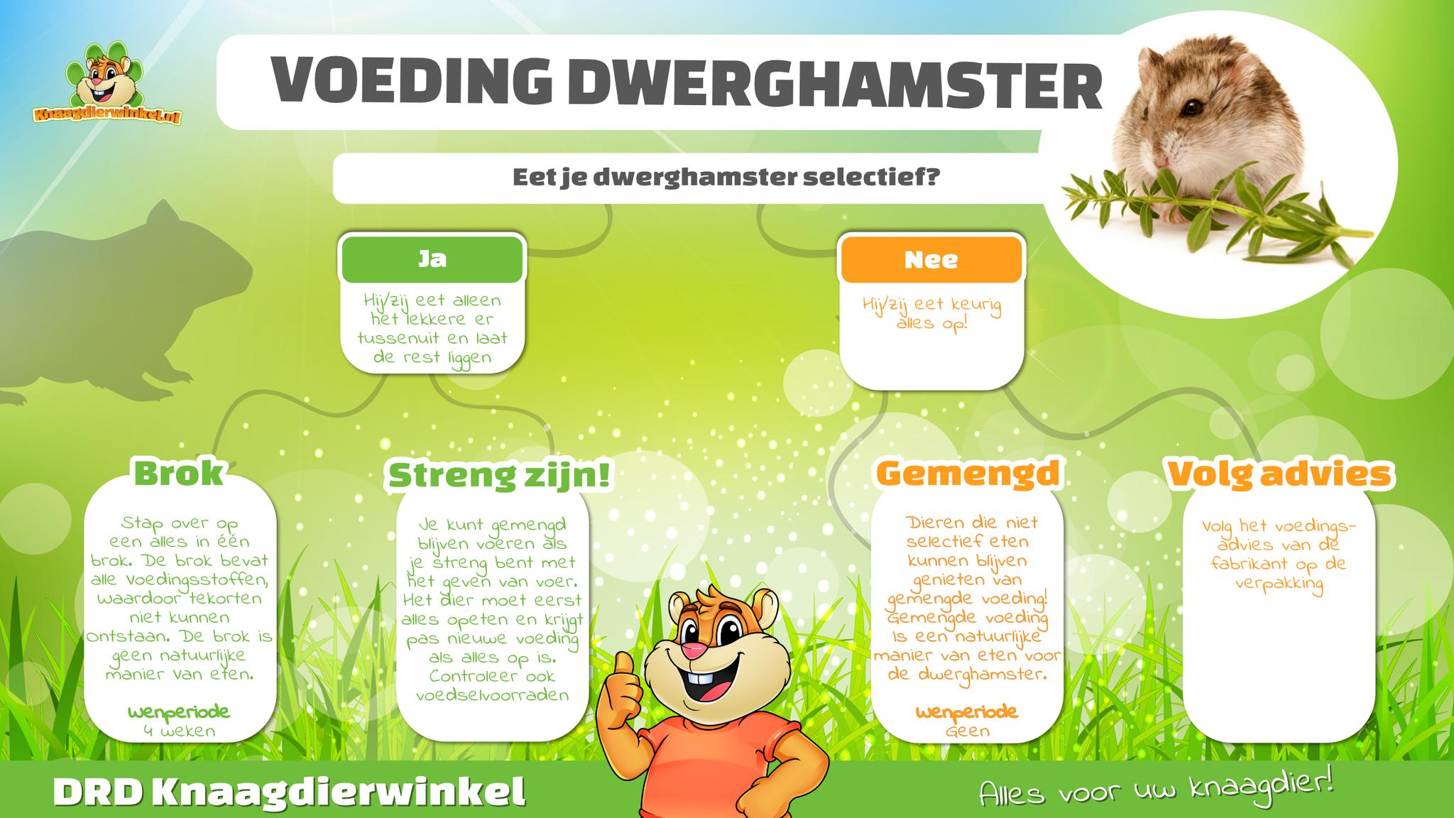 selectief eten dwerghamster hamster