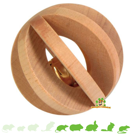 Trixie Wooden Lamellabal with bell 6 cm