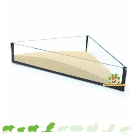 Knaagdierwinkel® Glass Sand Dish Triangle 20 cm