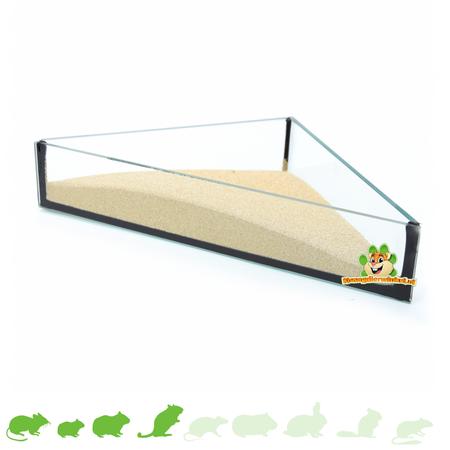 Knaagdierwinkel® Glassandschalen-Dreieck 20 cm