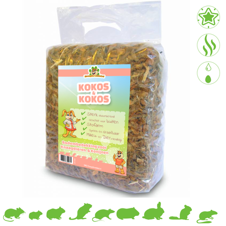 Knaagdierwinkel® Kokos & Kokos 25 Liter Kokoschips Bodendecker