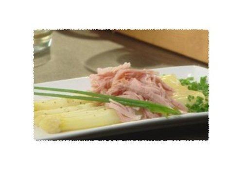 Asperges met ham en mosterdvinaigrette