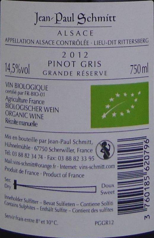 Domaine Jean-Paul Schmitt - Pinot Gris Rittersberg Grande Réserve